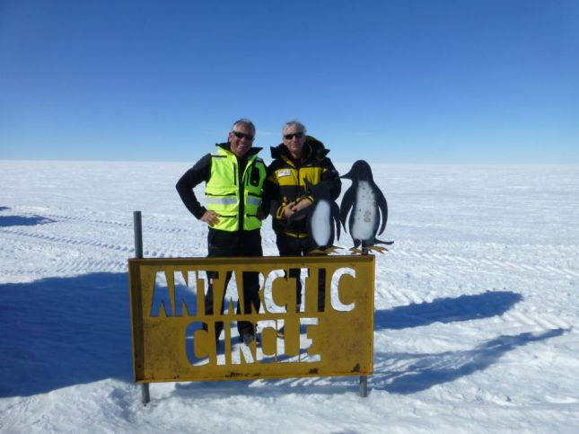Dr Gerard Bulger (right) in Antarctica