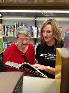 Queensland's most popular librarian Trish Richards (R) with regular library user Wendy Maddocks