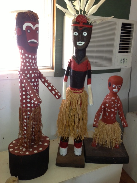 CARVINGS AT WIK KUGU ARTS CENTRE AURUKUN
